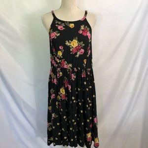 Torrid Black Floral High Neck Hi-Low Dress 2X